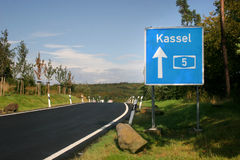 Highway sign to Kassel. Germany royalty free stock image