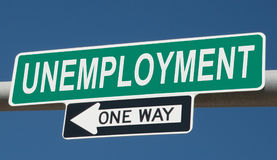 Highway sign for UNEMPLOYMENT and ONE WAY Stock Image