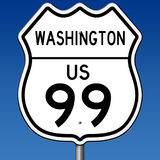 Highway sign for Washington Route 99. A 3d rendering of a highway sign for Route 99 in Washington State with blue sky Stock Photography