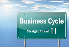 Highway Signpost Business Cycle. Highway Signpost with Business Cycle wording Stock Images