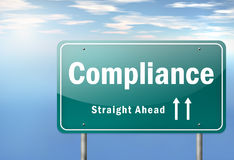 Highway Signpost Compliance. Highway Signpost with Compliance wording Stock Photography