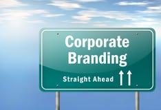Highway Signpost Corporate Branding. Highway Signpost with Corporate Branding wording Stock Illustration