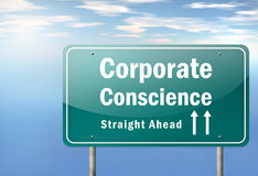 Highway Signpost Corporate Conscience. Highway Signpost with Corporate Conscience wording Royalty Free Stock Photography