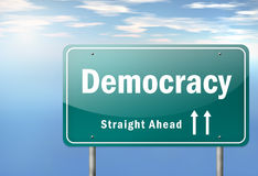 Highway Signpost Democracy. Highway Signpost with Democracy wording Royalty Free Stock Images