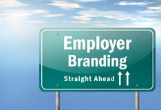 Highway Signpost Employer Branding. Highway Signpost with Employer Branding wording Stock Images
