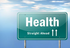 Highway Signpost Health. Highway Signpost with Health wording Stock Photos