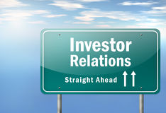 Highway Signpost Investor Relations. Highway Signpost with Investor Relations wording Stock Image