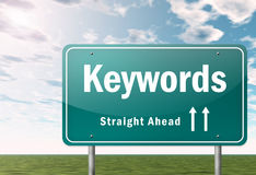 Highway Signpost Keywords. Highway Signpost with Keywords wording Royalty Free Stock Image
