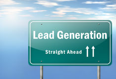 Highway Signpost Lead Generation. Highway Signpost with Lead Generation wording Royalty Free Stock Image