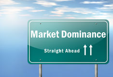 Highway Signpost Market Dominance. Highway Signpost with Market Dominance wording Royalty Free Stock Photo