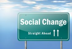 Highway Signpost Social Change. Highway Signpost with Social Change wording Royalty Free Stock Photography
