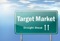 Highway Signpost Target Market. Highway Signpost with Target Market wording Royalty Free Stock Images