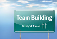 Highway Signpost Team Building. Highway Signpost with Team Building wording Royalty Free Stock Photo