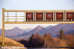 Highway signs in Germany Stock Photo