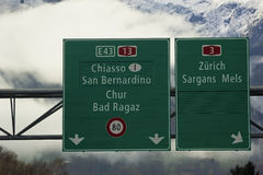 Highway signs in Switzerland Royalty Free Stock Images