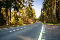 Highway into Silent Forest in spring with beautiful bright sun r. Hughway into Silent Forest in spring with beautiful bright sun rays - wanderlust Stock Photography