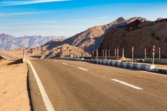 Highway in the Sinai mountains Stock Photo
