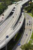 Highway in Singapore city. View above highway and traffic in Singapore city Royalty Free Stock Images