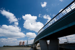 Highway with skyscrapers. Highway with sky scrapers in Fukuoka, Japan. Copy space royalty free stock photo