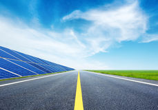 Highway and solar panels Royalty Free Stock Photos