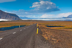 Highway through South Icelandic landscape Royalty Free Stock Images