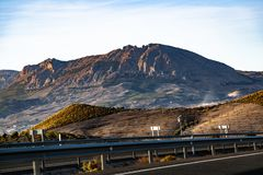 Highway in Spain near mountains Sierra Nevada stock photo