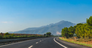 Highway speed through coastal Foothills and mountains of Spain. Royalty Free Stock Photography