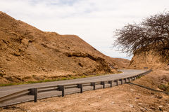 Highway in a stone desert in Israel. Highway in a yellow stone desert to Dead sea in Israel Royalty Free Stock Images
