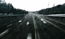 Highway during a storm stock photography