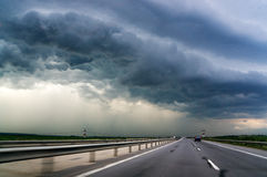 Highway and storm sky Royalty Free Stock Photography