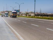 Highway street in Iraq. Kirkuk, Iraq - March 1, 2016: Highway road in Iraq between Kirkuk and Sulaimanya city Royalty Free Stock Image