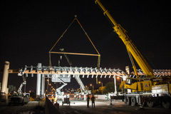 Highway structure. Installation of a Metal structure at Dolphin expressway, Miami. This structure will be part of a toll system that will increase toll charges Royalty Free Stock Image