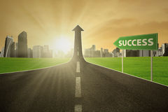 Highway with a success signpost Stock Photo