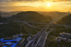 Highway at sunrise Stock Images