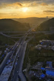 Highway at sunrise Stock Photography