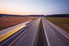 Highway at the sunrise Royalty Free Stock Photo