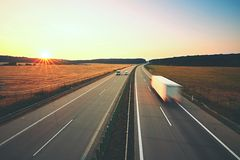 Highway at the sunrise Royalty Free Stock Image
