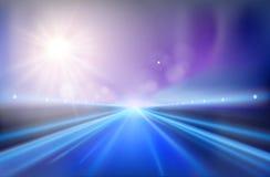 Highway - sunrise. Vector illustration. Royalty Free Stock Photos
