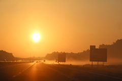 Highway at sunset Stock Photography