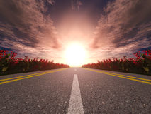 Highway and sunset Stock Photography