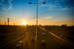 Highway sunset Royalty Free Stock Images