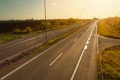 Highway at sunset, near Belgrade in Serbia Stock Photos