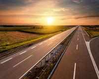 Highway at sunset, near Belgrade in Serbia Stock Images