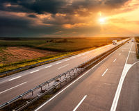 Highway at sunset, near Belgrade in Serbia Stock Image