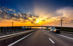 Highway Sunset Royalty Free Stock Photography