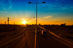Highway sunset Royalty Free Stock Photos