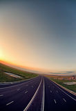 HIGHWAY AT SUNSET Royalty Free Stock Image