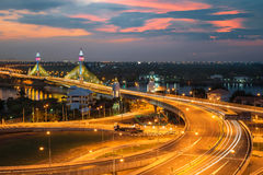 Highway and Suspension bridge in Bangkok ,Thailand Stock Photography