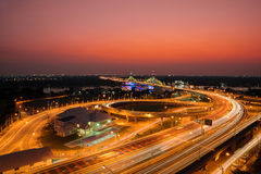 Highway and Suspension bridge in Bangkok ,Thailand Royalty Free Stock Photos