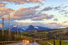 Highway in swiss highland Stock Photos